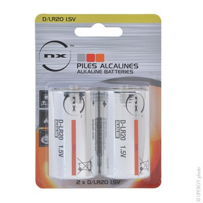 Pile alcaline blister x2 Nx-Power Tech LR20 - D 1.5V 19.76Ah