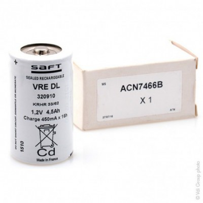 Accus Nicd VRE DL 4500 1.2 volts 4.5 ah FT