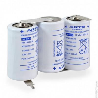 Batterie eclairage secours 3 VNT DH U COTE-COTE 3.6V 4Ah