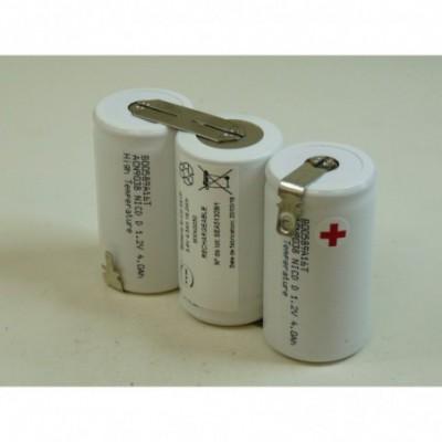 Batterie eclairage secours 3x D HT 3S1P ST1 3.6V 4Ah Cosse