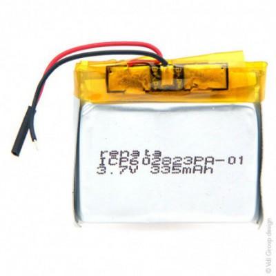 Batterie Li-Po 1S1P ICP602823PA + PCM UN38.3 3.7V 350mAh fils