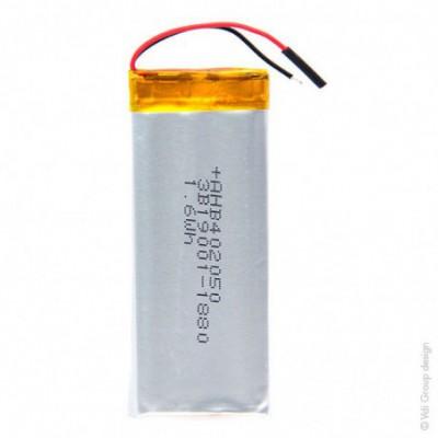 Batterie Li-Po 1S1P ICP402050PR + PCM UN38.3 3.7V 420mAh fils