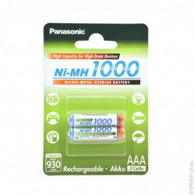 Accus Nimh blister x2 AAA Panasonic 1000 1.2V 930mAh