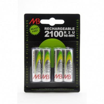 Accus Nimh blister x 4 AA Ready to Use 1.2V 2000 mAh