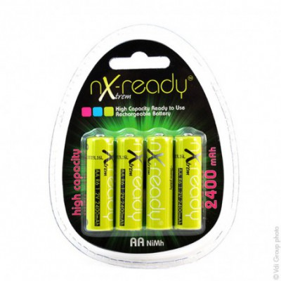 Accus Nimh blister x4 AA NX READY Xtrem 1.2V 2400mAh