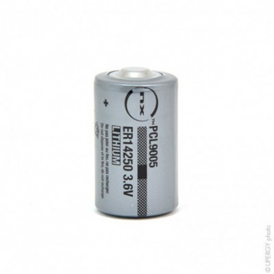 Pile lithium industrie ER14250 taille 1/2AA 3.6V 1.2Ah PP