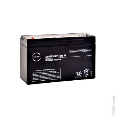 Batterie plomb AGM NX 10-6 General Purpose FR 6V 10Ah F6.35