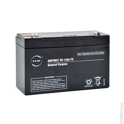 Batterie plomb AGM NX 12-6 General Purpose FR 6V 12Ah F6.35