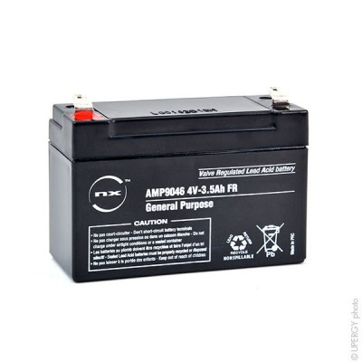 Batterie plomb AGM NX 3.5-4 General Purpose FR 4V 3.5Ah F4.8