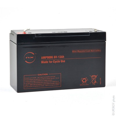 Batterie plomb AGM NX 13-6 Cyclic 6V 13Ah F6.35