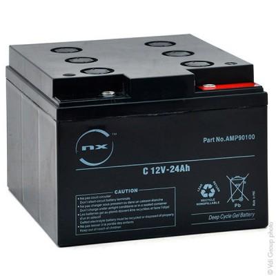 Batterie plomb etanche gel NX 24-12 Cyclic 12V 24Ah M5-F
