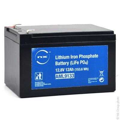 Batterie lithium fer phosphate UN38.3 (153.6Wh) 12V 12Ah F6.35
