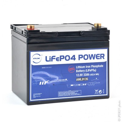 Batterie lithium fer phosphate UN38.3 (409.6Wh) 12V 33Ah M6-F