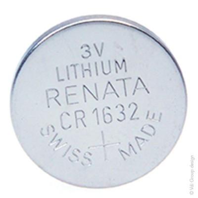 Pile bouton lithium blister CR1632 RENATA 3V 125mAh