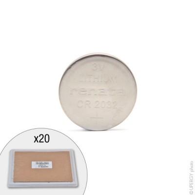 Pile bouton lithium CR2032 RENATA 3V 225mAh