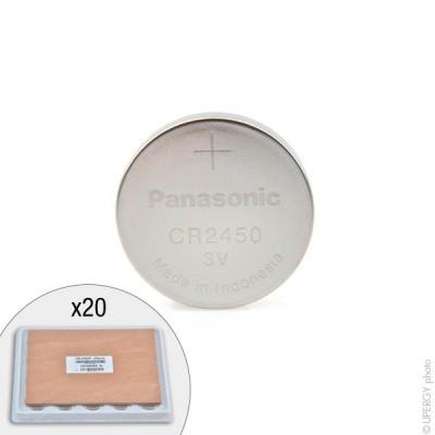 Pile bouton lithium CR2450/BS PANASONIC 3V 620mAh